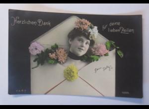 Frauen, Mode, Briefumschlag, Blumen, 1907 ♥ (24036)