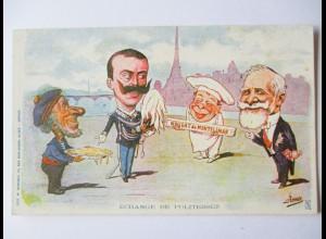 Italien, Karikatur, König Victor Emanuel, Echange de Politesses, ca.1900