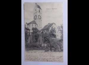 Suhr Kirche und Pfarrhaus in der Schweiz 1902 ♥ (38648)