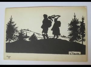 """""""Illumma-Leucht- Postkarte"""" 1910, Scherenschnitt, W.Prause ♥"""
