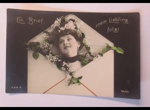 Frauen, Briefumschlag, Blumen, 1907 ♥ (51551)