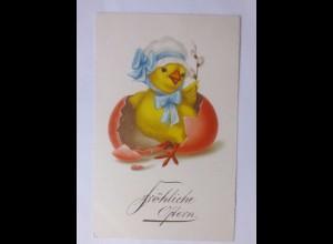 Ostern, Küken, Osterei, Weidenkätzchen, 1930 ♥ (59534)