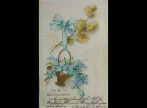 """""""Namenstag, Blumen"""" 1904, Prägekarte,Serie Erika 1946 ♥ (3631)"""