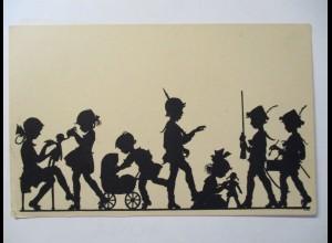 Kinder als Soldaten, Scherenschnitt, Shilouette, Krieg spielen (3108)