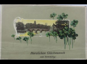 """Namenstag, Klee, Landschaft"" 1909 Prägekarte ♥ (3415)"