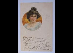 """""""Frauen, Mode, Haarschmuck"""" 1900, Prägekarte ♥"""