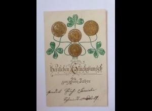 Neujahr, Münzen, Kleeblatt, 1907, Prägekarte ♥ (53581)