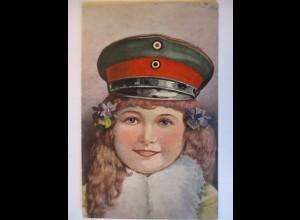 Kinder WW 1, Mädchen mit Uniform Mütze, K6. KB ID 1916 (45555)