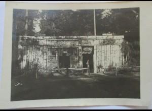 Soldaten Blockhaus im Wald, Haus Waldfrieden, original Foto