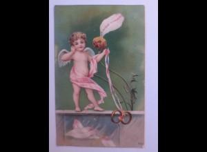 Valentinstag, Engel, Amor, Ringe, Sie liebt mich, 1905 ♥ (48025)