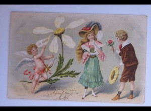 Valentinstag, Engel, Kinder, Mode, Amor, Blume, Sie liebt mich 1906 ♥ (52986)