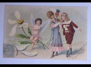 Valentinstag, Engel, Kinder, Mode, Amor, Blume, Sie liebt mich, 1906 ♥ (61517)