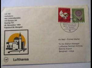 Lufthansa Erstflugbrief Frankfurt - Bengasi 1964