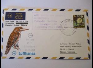 Lufthansa Erstflugbrief Australien, Djakarta - Sydney 1969 (41570)