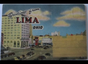 USA, Lima, Ohio, Postcard Folder ca. 50er/60er