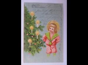Weihnachten, Weihnachtsbaum, Kerzen, Kinder, Mode, 1904 ♥ (16098)