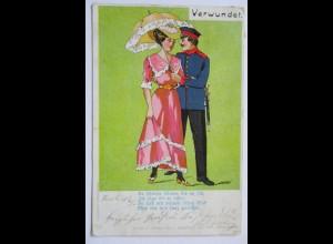 Soldat Frau Regenschirm, Verwundet, Verlag Keseberg Hofgeismar 1907