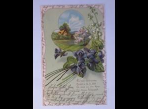 Jugendstil, Landschaft, Maiglöckchen, Veilchen, 1904, Prägekarte ♥