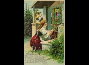 """Frauen, Männer, Beten, Heilige, Kerze"" 1913, Prägekarte ♥"