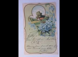 Jugendstil, Landschaft, Vergissmeinnicht, Spruch, 1903, Prägekarte ♥