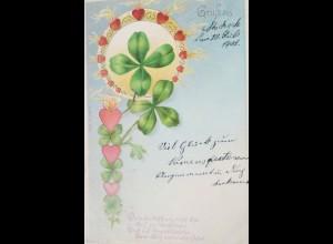 """""""Blumen, Kleeblatt, Herz, Flamen, Spruch"""" 1902 ♥"""