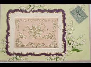 """""""Blumen, Maiglöckchen, Brief, Jugendstil"""" 1900, Prägekarte ♥"""