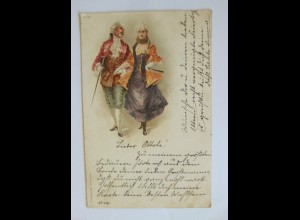 """Frauen, Männer, Mode, Barock"" 1900, Glitzerkarte ♥"
