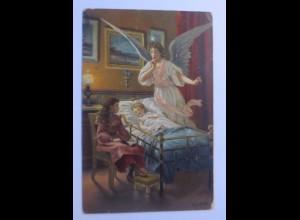 """""""Engel, Schutzengel, Kinder, Lesen, Schutzengel am Abend"""" 1908 ♥"""