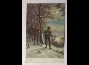 Künstlerkarte, Im Kriege 1915, Vorposten an der Maas, sig, F. Kahle ♥