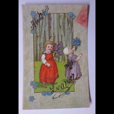 Namenstag, Kinder, Mode, Blumen, 1908 ♥ (30871)