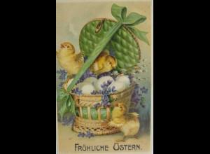 """""""Ostern, Küken, Korb. Eier"""" 1911, Prägekarte ♥ (8004)"""
