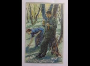 Frühling, Männer, Frauen, Soldat, 1915 ♥