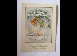 Weihnachten, Winterlandschaft, Glocken, Zweig, Haus, 1961 ♥ (50740)