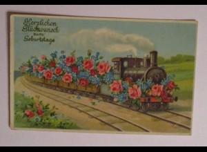 Geburtstag, Lokomotive, Kinder, Münzen, Blumen, 1910, Prägekarte ♥ (31170)