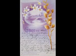 Gruß, Landschaft, Blumen, Spruch, 1900 ♥ (18848)