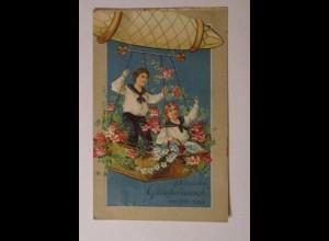 Geburtstag, Zeppelin, Kinder, Matrose, Blumen,1913, Prägekarte ♥ (1315)