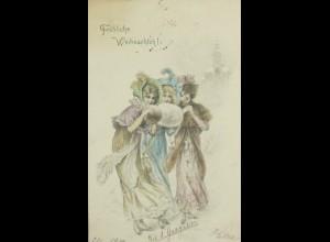 Weihnachten, Frauen, Muff, 1900, Munk Vienne ♥ (12875)