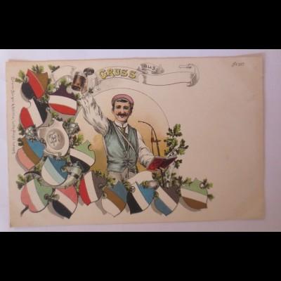 Studentika, Student mit Bierkrug, Schlagende Verbindung, 1900, Litho♥ (66924)