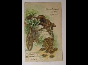 Neujahr, Wagen, Fass, Kleeblatt, Münzen, 1906, Prägekarte ♥ (35939)