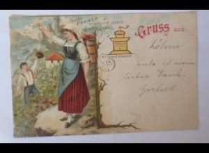 Werbung, Reklame, Aecht Franck, Kaffee-Zusatz, Rheinland, 1898, Litho ♥ (66926)