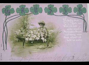 """Kinder, Blumen, Kleeblatt, Spruch"" 1899 ♥"