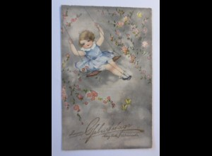 Geburtstag, Kinder, Mode, Blumen, Schaukel, 1932, Hannes Petersen ♥ (52929)