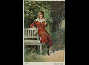 """""""Frauen, Brief, Blume, Bank"""" 1920, Der erste Brief, sig. Jdolfi ♥"""
