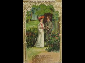 Frauen, Männer, Mode, 1900, Wer das Rauschen will verstehen, Prägekarte♥(8911)