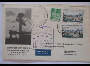 Frankreich Kriegsgräberfürsorge Lufthansa Paris-Hamburg 1960 (27869)