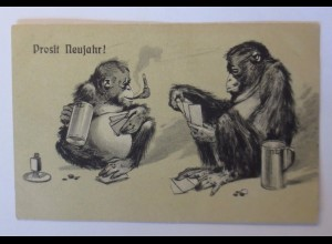 """""""Neujahr, Personifiziert, Affen, Bierkrug, Rauchen, Kartenspielen""""1900 ♥"""
