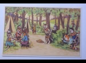 Personifiziert, Katzen, Indianer, Western, 1920 ♥ (16760)