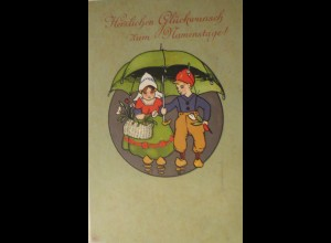 Namenstag, Kinder, Schirm, Trachten, Holzschuhe, 1910 ♥ (25417)