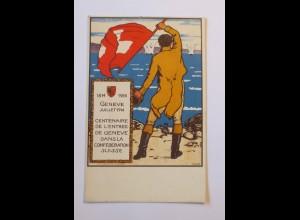 """Jubiläum, Genf-Schweiz, Männer, Fahne"" 1914 ♥ (32674)"