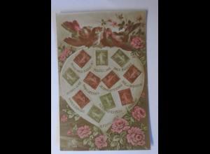 """""""Briefmarkensprache, Herz, Vogel, Blumen"""" 1910 ♥"""